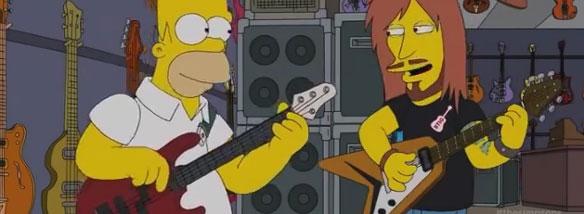 Homer Simpson a basová kytara